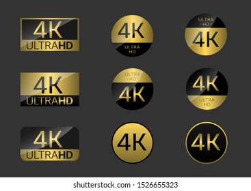 Golden 4K badge icon set. 4k Ultra Hd icons. 4K UHD TV symbol of High Definition monitor display resolution standard