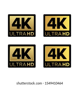 Golden 4K Ultra HD Video Resolution Icon Logo; High Definition TV / Game Screen monitor display Label