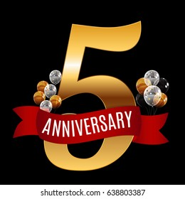 Golden 5 Years Anniversary Template with Red Ribbon Vector Illustration EPS10