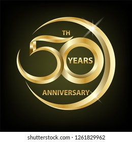 golden 50th anniversary sign and logo for gold celebration symbol