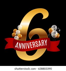 Golden 6 Years Anniversary Template with Red Ribbon Vector Illustration EPS10