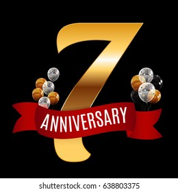 Golden 7 Years Anniversary Template with Red Ribbon Vector Illustration EPS10