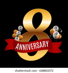 Golden 8 Years Anniversary Template with Red Ribbon Vector Illustration EPS10