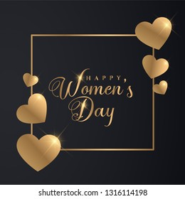 Golden 8th March Womens Day Banner. Luxury Golden Women's Day Design.