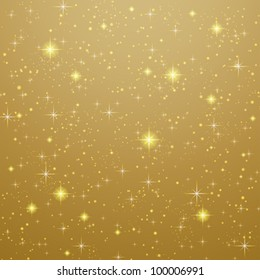 Golden Abstract background with stars. Vector illustration