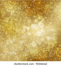 Golden abstract Christmas background with white snowflakes
