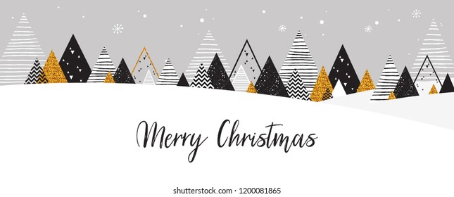Golden abstract Christmas winter scene. Christmas winter landscape background in Black and Gold colors. Abstract Vector illustration