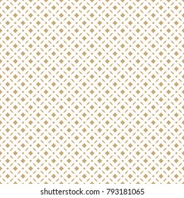 Golden abstract floral seamless pattern. Vector gold and white background. Simple geometric leaf ornament. Delicate luxury graphic texture with diamond shapes, square grid. Elegant design for decor