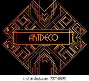 Golden abstract geometric background. Art deco style, trendy vintage design element. Gold grill on a black background. Beautiful artdeco template with parallel lines with gold gradient.