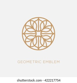 Golden abstract geometric logo template design in trendy linear style. Vector illustration.