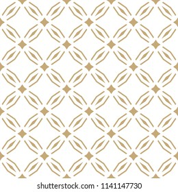 Golden abstract geometric seamless pattern in oriental style. Luxury vector background. Simple graphic ornament. White and gold texture with diamond shapes, rhombuses, grid, lattice, net, repeat tiles