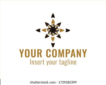 Golden abstract logo for commercial use. vector.