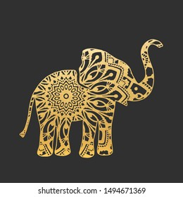 Golden Abstract Ornamental Elephant Shape. Vector Animal for Your Design.