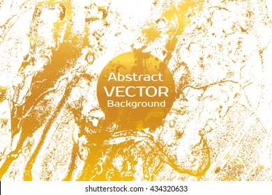 Golden abstract painted marble illustration. Watercolor spot background. Brush splash vector art. Vector with paper marbling textures. White and gold colors.