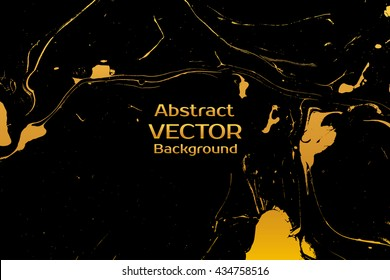 Golden abstract painted marble illustration. Watercolor spot background. Brush splash vector art. Vector with paper marbling textures. Black and gold colors.