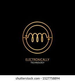 Golden Abstract Techno Electronically Inductor Letter O  logo icon design concept  for electrical, electronical and more technology business.