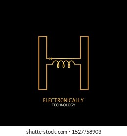 Golden Abstract Techno Electronically Inductor Letter H logo icon design concept  for electrical, electronical and more technology business.