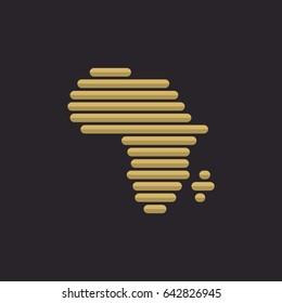 Golden Africa Logo in dark background, vector illustration