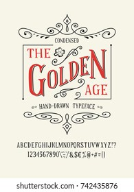 THE GOLDEN AGE FONT. Old retro typeface design. Hand made type alphabet. Authentic letters, numbers, punctuation. Script art for fashion apparel, t shirt print graphic vintage vector badge label logo