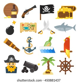 Golden age pirate adventures toy accessories pictograms treasures icons children party game icons set
