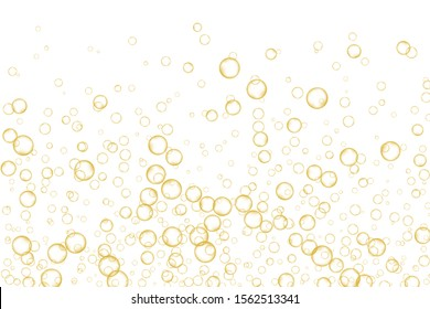 Golden air Bubbles, oxygen, champagne crystal clear isolated on white background modern design. Vector illustration of EPS 10.