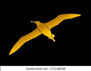 Golden Albatross isolated on black background. Vector. Albatross Icon. Digitally drawn illustration.