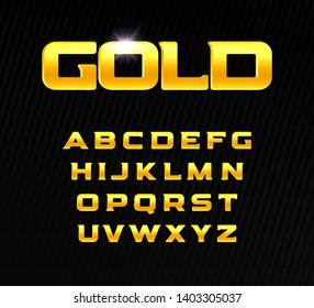 Golden alphabet. Bold headline letters with serif. Modern font for premium product design. Vector gold letters.