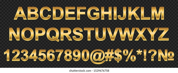 Golden alphabet, letters and numbers - stock vector