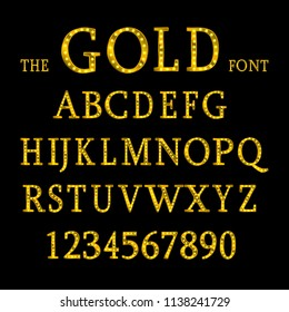 Golden alphabet with show lamps isolated on black background. Vector illustration