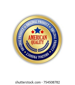 Golden American quality Original Product badge on white background