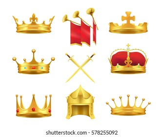 Golden ancient crowns and swords set on white. Vector illustration of caps made of gold with and without precious stones, crossed sword in centre and pipes with red clothing above in flat design