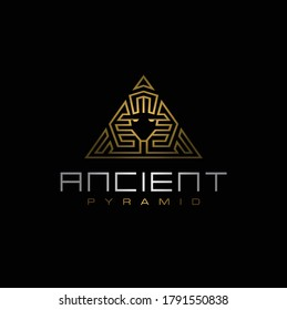 Golden Ancient Egyptian Sphinx Pyramid, Artistic Gold of Egypt King logo design with triangle luxury line pattern logo design
