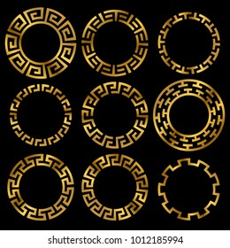 Golden ancient greek round frame ornament set. Ancient greek gold circle, classic antique round. Vector illustration