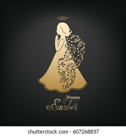 Golden Angel silhouette with ornamental wings and nimbus. Beautiful praying angel and Happy Easter calligraphy text on a black background.