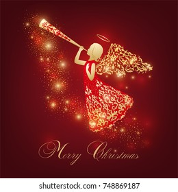 Golden Angel silhouette with ornamental wings and nimbus. Beautiful praying angel with trumpet in red ornate robe on a dark red background. Shining card with flares, Glowing blurs and vivid spots.