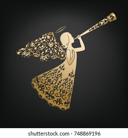 Golden Angel silhouette with ornamental wings and nimbus. Beautiful praying angel with trumpet on a black background. Beautiful applique. Abstract design. Isolated vector objects.