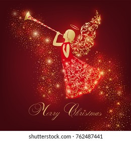 Golden Angel silhouette with ornamental wings and nimbus. Beautiful flying angel with trumpet in red ornate dress on a dark red background. Shining card with flares, Glowing blurs and vivid spots.