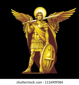Golden angel with a sword on a black background