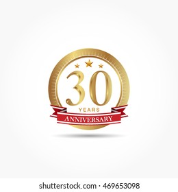 golden anniversary logo vector with stars and red ribbon
