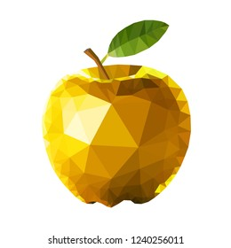 Golden apple polygon design. Crystal like great looking golden apple vector design.