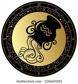Golden Aquarius horoscope symbol. Vector Zodiac sign.