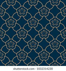 Golden arabesque floral mosaic pattern. Seamless lattice background. Oriental geometric ornament. Decorative flower lace printing block. Textile fabric all over design. Ecru flowers on a indigo blue.