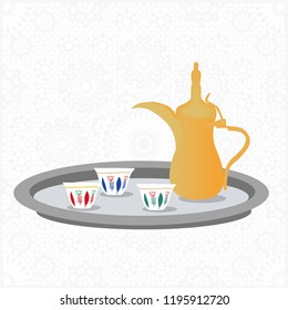 Golden Arabic Saudi Arabian Coffee/Tea Pot - Vector Illustration Isolated Icons