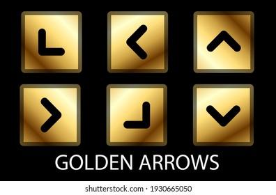 GOLDEN ARROWS vector set Squared Golden vector arrow set