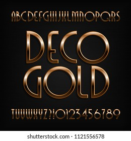 Golden art deco alphabet font. Gold effect letters, numbers and symbols. Stock vector typeface.
