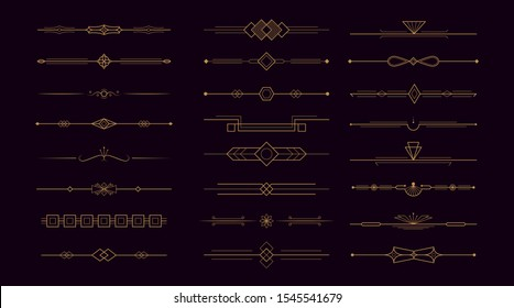 Golden art deco divider header set. Vector gold retro artdeco border 1920s decorative ornaments, minimal elegant frames creative template design