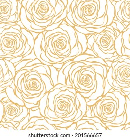 Golden Art Deco floral seamless pattern with roses. Vector roses hand drawn wallpaper