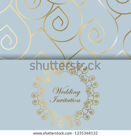 ace68880aee Golden art deco frame on modern background. Light blue   Golden colors  design. Wedding Invitation - Vector