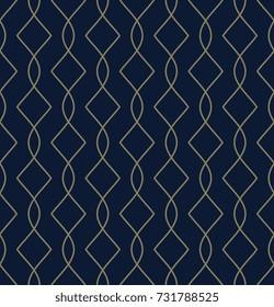 Golden art deco motif. Elegant line seamless pattern. Simple geometric lattice design for home decor, interior textile, wallpaper, fabric cloth, paper. Decorative printing block. Vector illustration.