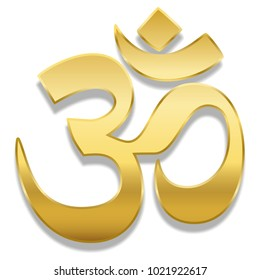 Golden Aum or Om symbol. Spiritual healing symbol of hinduism and buddhism - isolated vector illustration on white background.